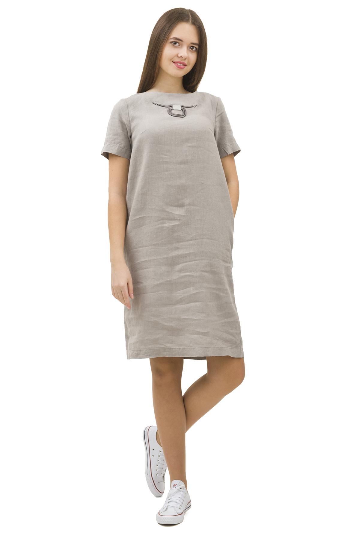 ПлатьеПлатья,  сарафаны<br>Стильное платье выполнено из натуральной ткани - льна. Данная модель удачно подчеркнет красоту Вашей фигуры, а яркая расцветка  не оставит Вас незамеченной.<br><br>Цвет: серый<br>Состав: 100% лен<br>Размер: 40,42,44,46,48,50,52,54,56,58,60<br>Страна дизайна: Россия<br>Страна производства: Россия