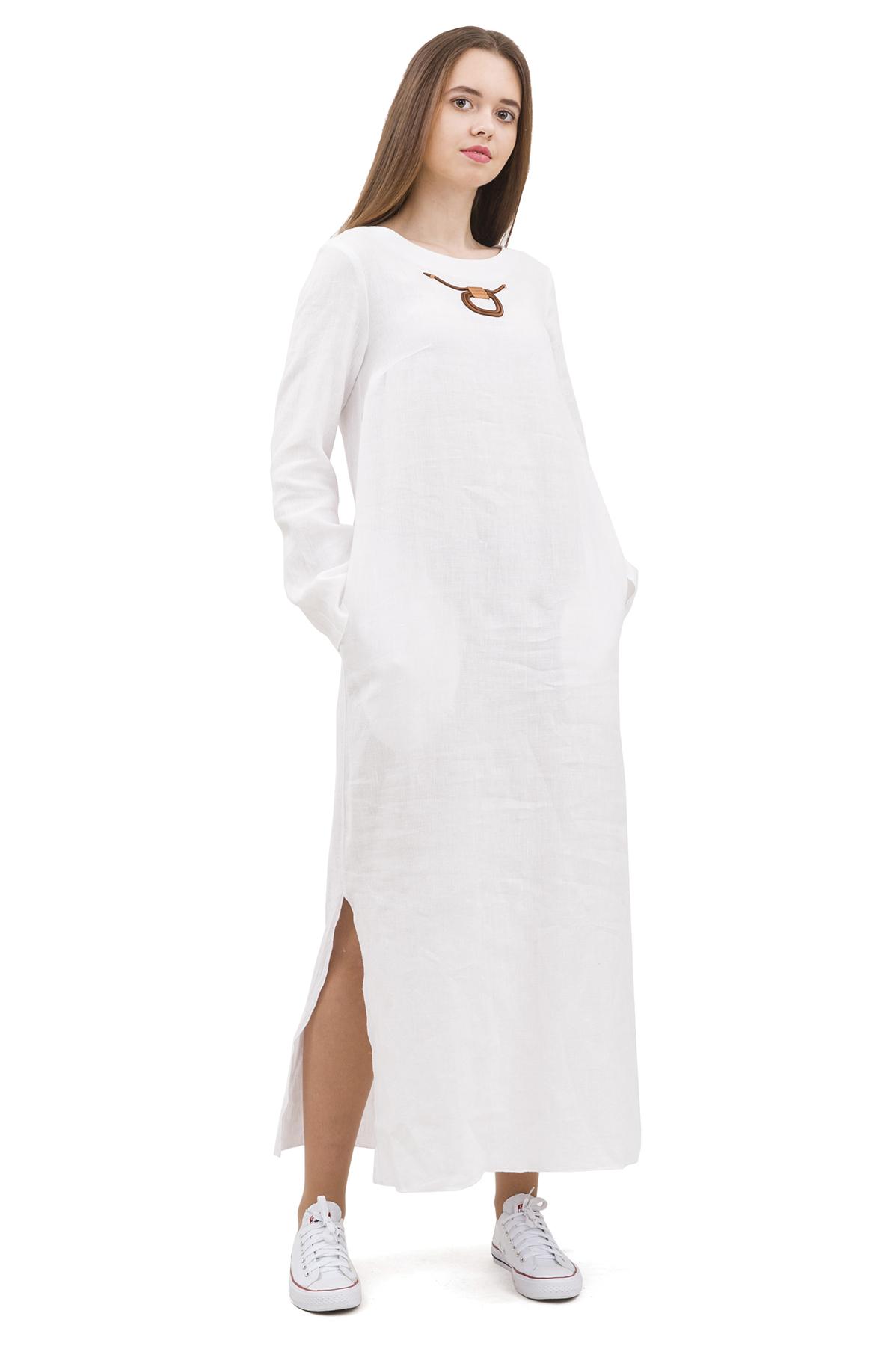 ПлатьеПлатья,  сарафаны<br>Стильное платье выполнено из натуральной ткани - льна. Данная модель удачно подчеркнет красоту Вашей фигуры, а яркая расцветка  не оставит Вас незамеченной.<br><br>Цвет: белый<br>Состав: 100% лен<br>Размер: 42,44,46,48,50,52,54,56<br>Страна дизайна: Россия<br>Страна производства: Россия