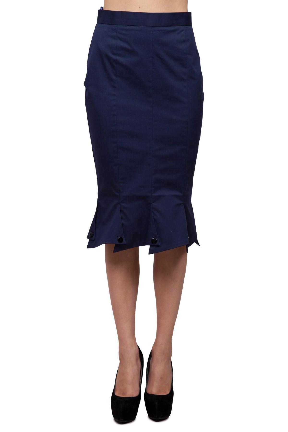 ЮбкаЖенские юбки и брюки<br>Вы привыкли быть в центре внимания, умеете с достоинством принимать восхищенные комплименты, и Вас не смущают восторженные взгляды? Тогда эта необычная юбка создана специально для Вас! Оригинальный низ изделия  создаст стильный образ. Изделие выполнено в <br><br>Цвет: синий<br>Состав: 95% хлопок, 5% лайкра<br>Размер: 44,46,48,50,52,54<br>Страна дизайна: Россия<br>Страна производства: Россия