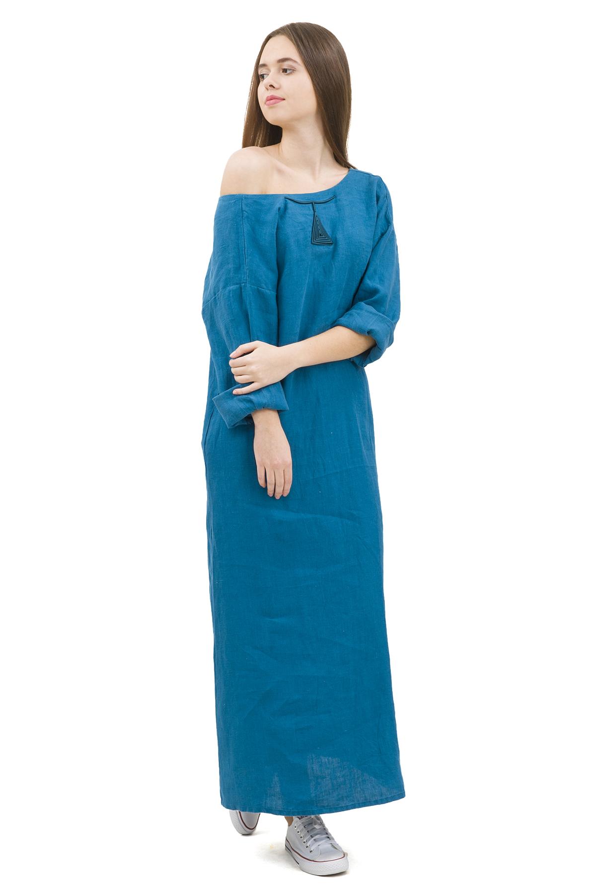 ПлатьеПлатья,  сарафаны<br>Стильное платье выполнено из натуральной ткани - льна. Данная модель удачно подчеркнет красоту Вашей фигуры, а яркая расцветка  не оставит Вас незамеченной.<br><br>Цвет: бирюзовый<br>Состав: 100% лен<br>Размер: 42,44,46,48,50,52,54,56<br>Страна дизайна: Россия<br>Страна производства: Россия