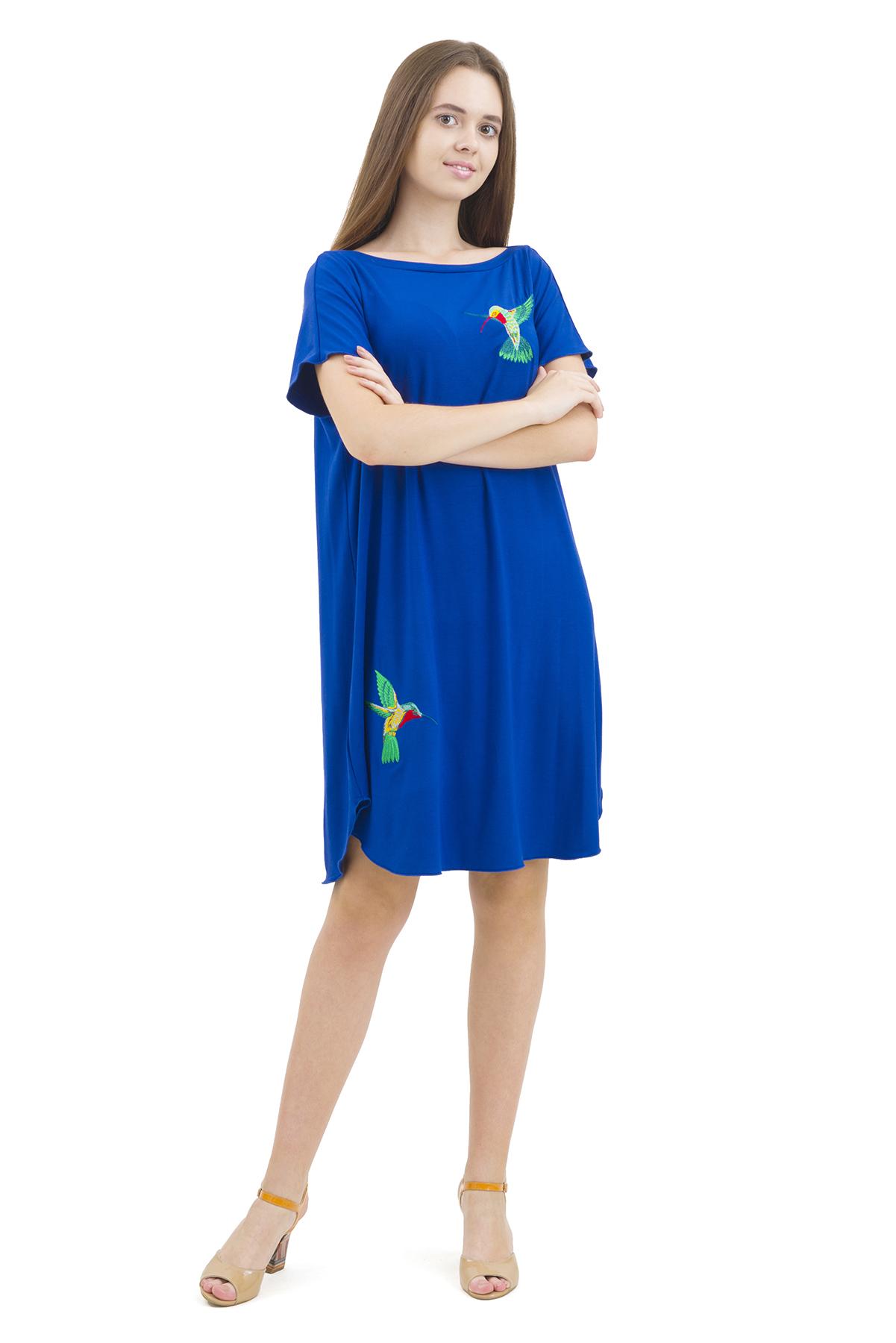 ПлатьеПлатья,  сарафаны<br>Изумительное платье с оригинальной вышивкой и лаконичного дизайна не оставит Вас незамеченной среди окружающих.<br><br>Цвет: синий<br>Состав: 92% вискоза; 8% эластан<br>Размер: 46,48,50,52,54,56,58,60<br>Страна дизайна: Россия<br>Страна производства: Россия