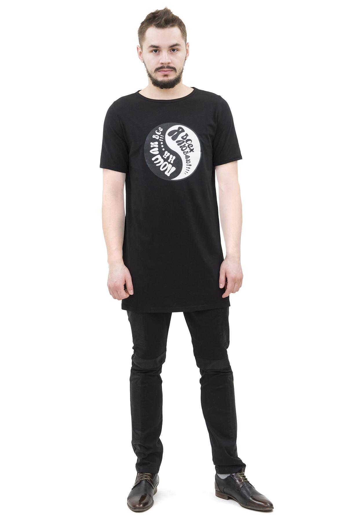 ФутболкаМужские футболки, джемпера<br>Футболка бренда Pavel Yerokin с принтом выполнена из хлопкового трикотажа с добавлением эластана. Особенности: свободный удлиненный крой, круглый вырез, принт в виде символа Инь-Янь.<br><br>Цвет: черный<br>Состав: Хлопок - 92%, Эластан - 8%<br>Размер: 44,46,48,50,52,54<br>Страна дизайна: Россия<br>Страна производства: Россия