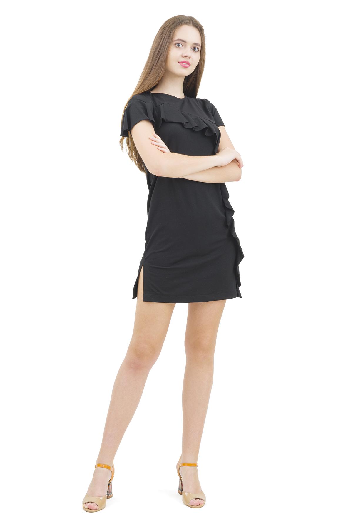 ПлатьеПлатья,  сарафаны<br>Изумительное платье с оригинальной вышивкой и лаконичного дизайна не оставит Вас незамеченной среди окружающих.<br><br>Цвет: черный<br>Состав: 92% хлопок; 8% эластан<br>Размер: 40,42,44,46,48,50,52<br>Страна дизайна: Россия<br>Страна производства: Россия