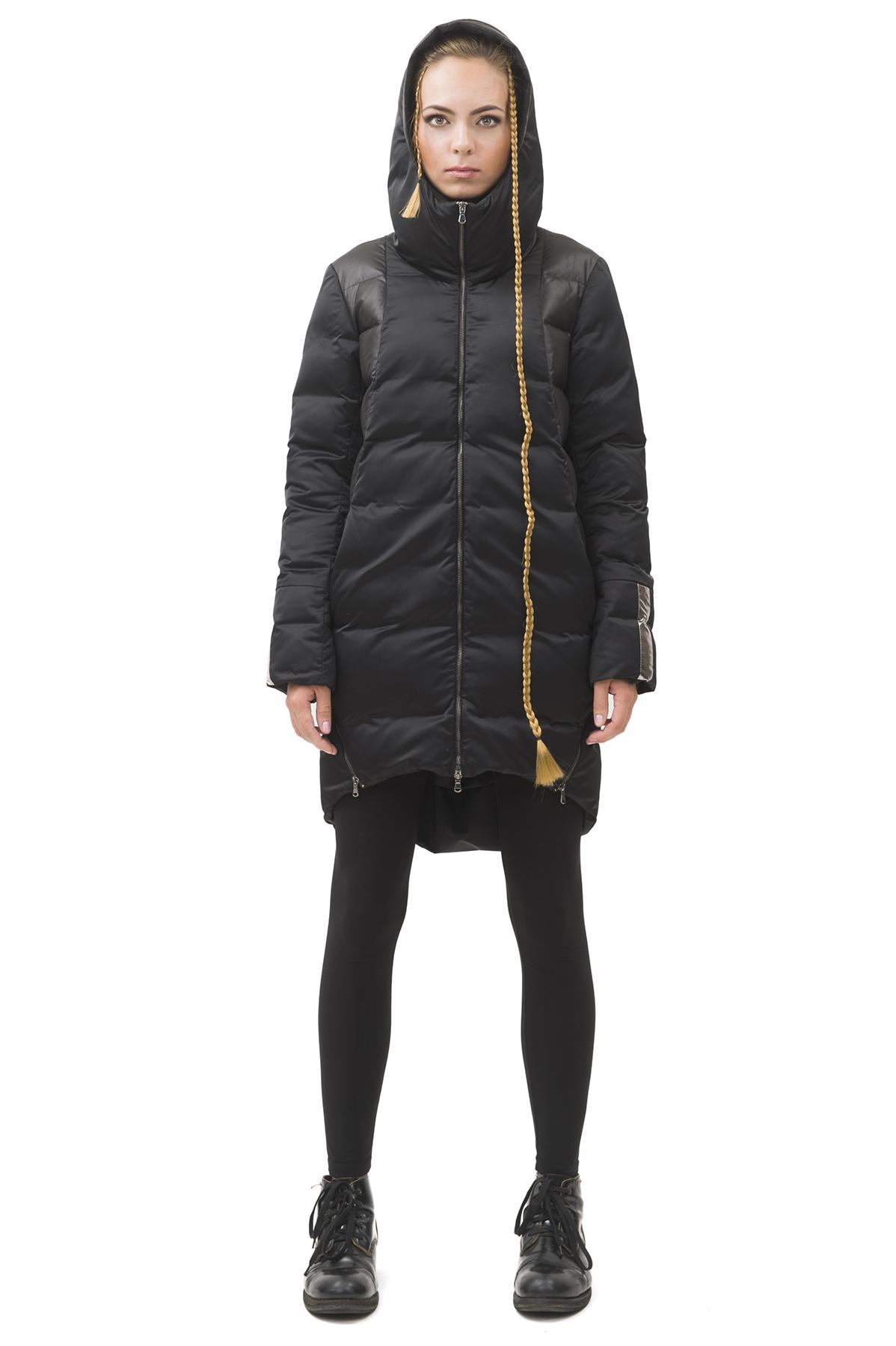 Пальто пуховоеЗимние куртки, пальто, пуховики<br>Пуховик  Pavel Yerokin выполнен из материалов различной фактуры. Особенности: свободный крой, молнии в качестве элементов отделки, капюшон с высокой стойкой, закругленный асимметричный низ.<br><br>Цвет: черный<br>Состав: Материал 1 - Полиэстер - 100%  Материал 2 - Полиэстер - 100% утеплитель: Гусиный пух - 90%, Перо - 10%<br>Размер: 40,42,44,46,48,50,52<br>Страна дизайна: Россия<br>Страна производства: Россия