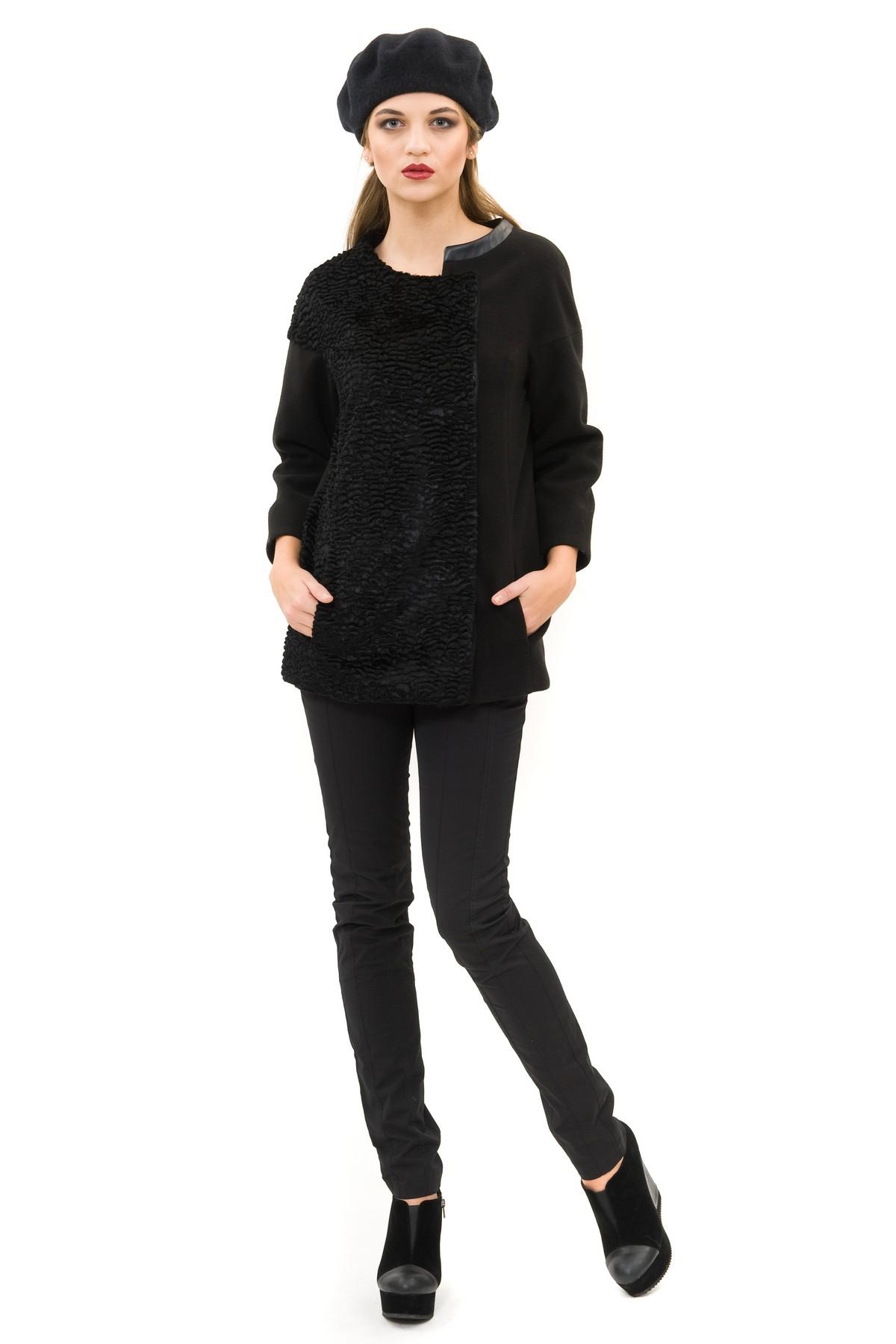 КурткаЖенские куртки, плащи, пальто<br>Потрясающая куртка подчеркнет Ваш элегантный и женственный образ. Выполнено  из сукна и дополнено отделкой из искусственного каракуля и кож.зама. Благодаря своему необычному дизайну изделие займет достойное место в Вашем гардеробе.<br><br>Цвет: черный<br>Состав: ткань1 - 60% ацетат, 21% полиэстер, 19% хлопок, ткань2 - 90% полиэстер,8% вискоза, 2% лайкра, подкладка -54%полиэстер, 46% вискоза<br>Размер: 52,54,56,58,60<br>Страна дизайна: Россия<br>Страна производства: Россия
