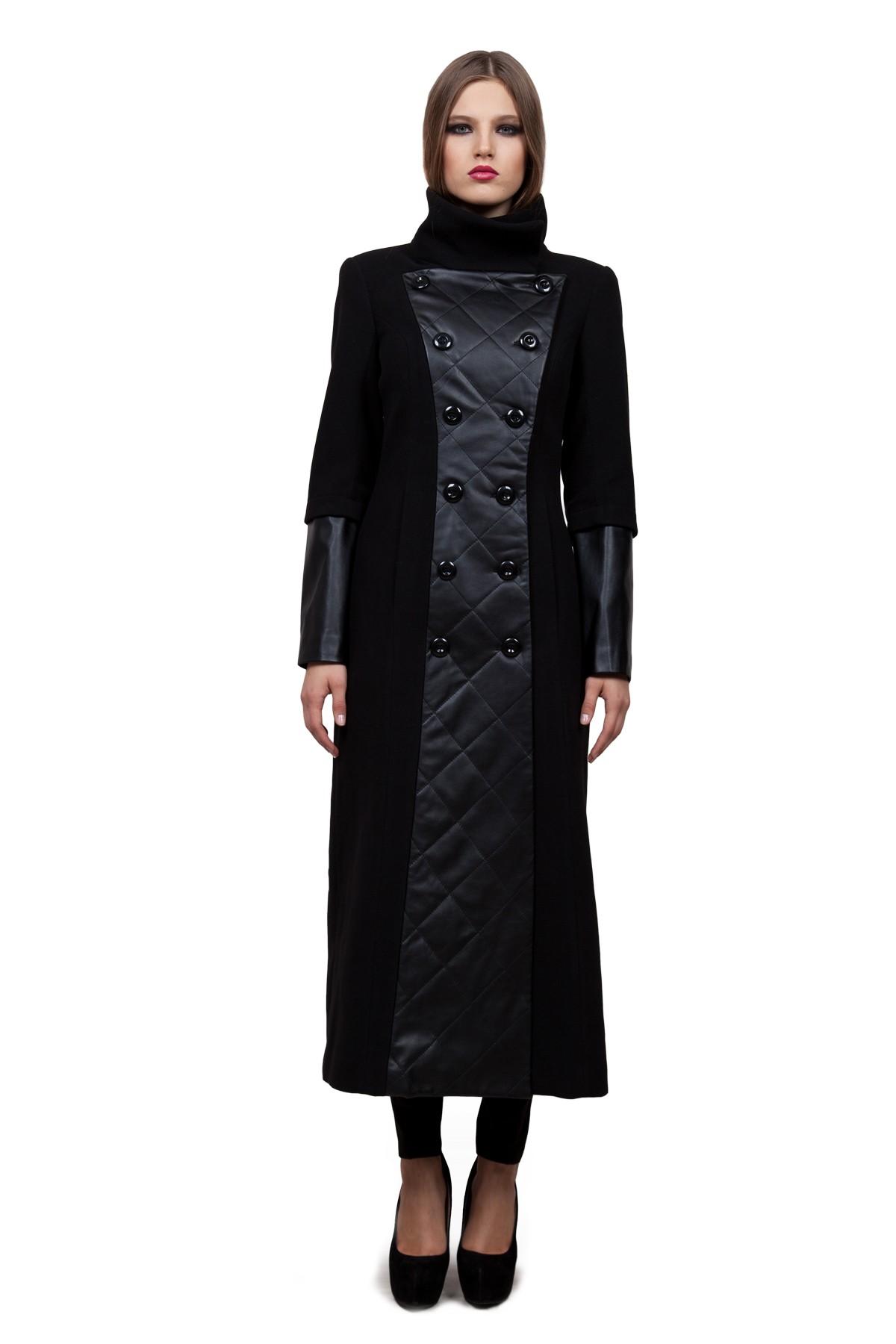 ПальтоЖенские куртки, плащи, пальто<br>Пальто создано для активных и стильных. Необычные вставки из кож. зама отлично разбавляет собой лаконичный дизайн этого пальто. Такая модель обеспечит Вам не только красивый внешний вид и комфорт, но и дополнительную защиту от холода и ветра.<br><br>Цвет: черный<br>Состав: ткань1:  90% полиэстер, 8% вискоза, 2% эластан; ткань2: 53% полиуретан, 47% полиэстер; наполнитель: 100% полиэстер (синтепон); подкладка: 54% полиэстер, 46% вискоза<br>Размер: 48<br>Страна дизайна: Россия<br>Страна производства: Россия