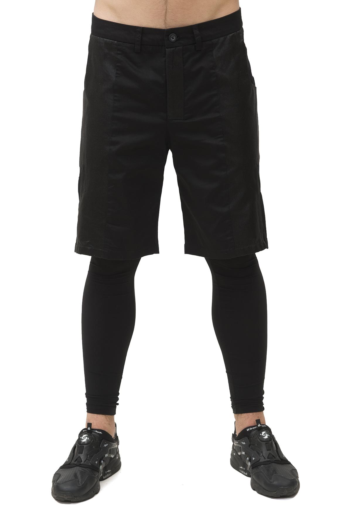 ШортыБрюки, джинсы, шорты от производителя<br>Шорты Pavel Yerokin выполнены из хлопкового текстиля различной фактуры. Особенности: зауженный крой, застежка на молнии и пуговице, 4 кармана, шлевки для ремня.<br><br>Цвет: черный<br>Состав: Материал 1 - Полиэстер - 97%, Эластан - 3%  Материал 2 - Хлопок - 58%, Лен - 32%, Резина - 10%<br>Размер: 44,46,48,50<br>Страна дизайна: Россия<br>Страна производства: Россия
