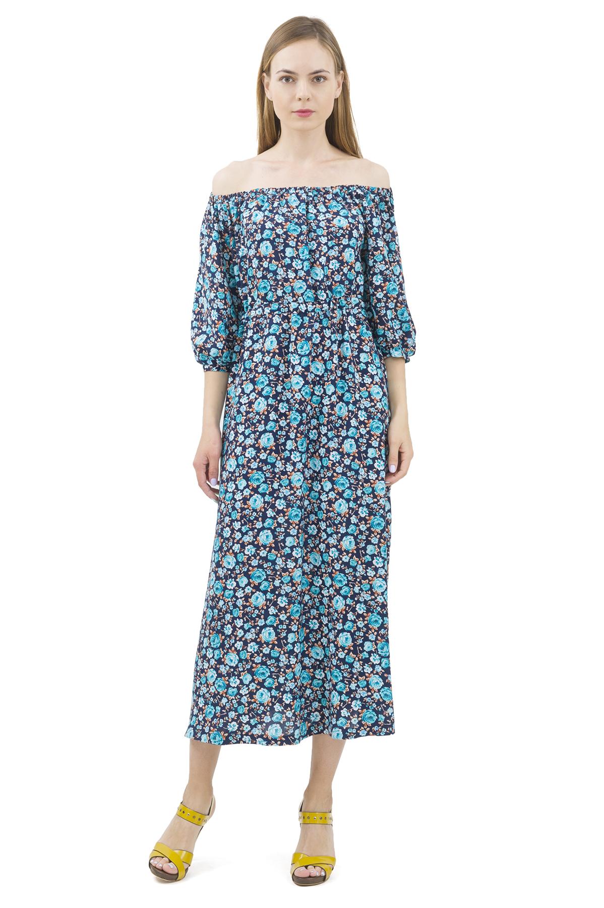 ПлатьеПлатья,  сарафаны<br>Стильное платье актуальной длины   для ярких и уверенных в своей неотразимости женщин. Изделие прекрасно сочетается со многими элементами гардероба.<br><br>Цвет: темно-синий,голубой<br>Состав: 100% вискоза<br>Размер: 40,42,44,46,48,50,52,54<br>Страна дизайна: Россия<br>Страна производства: Россия