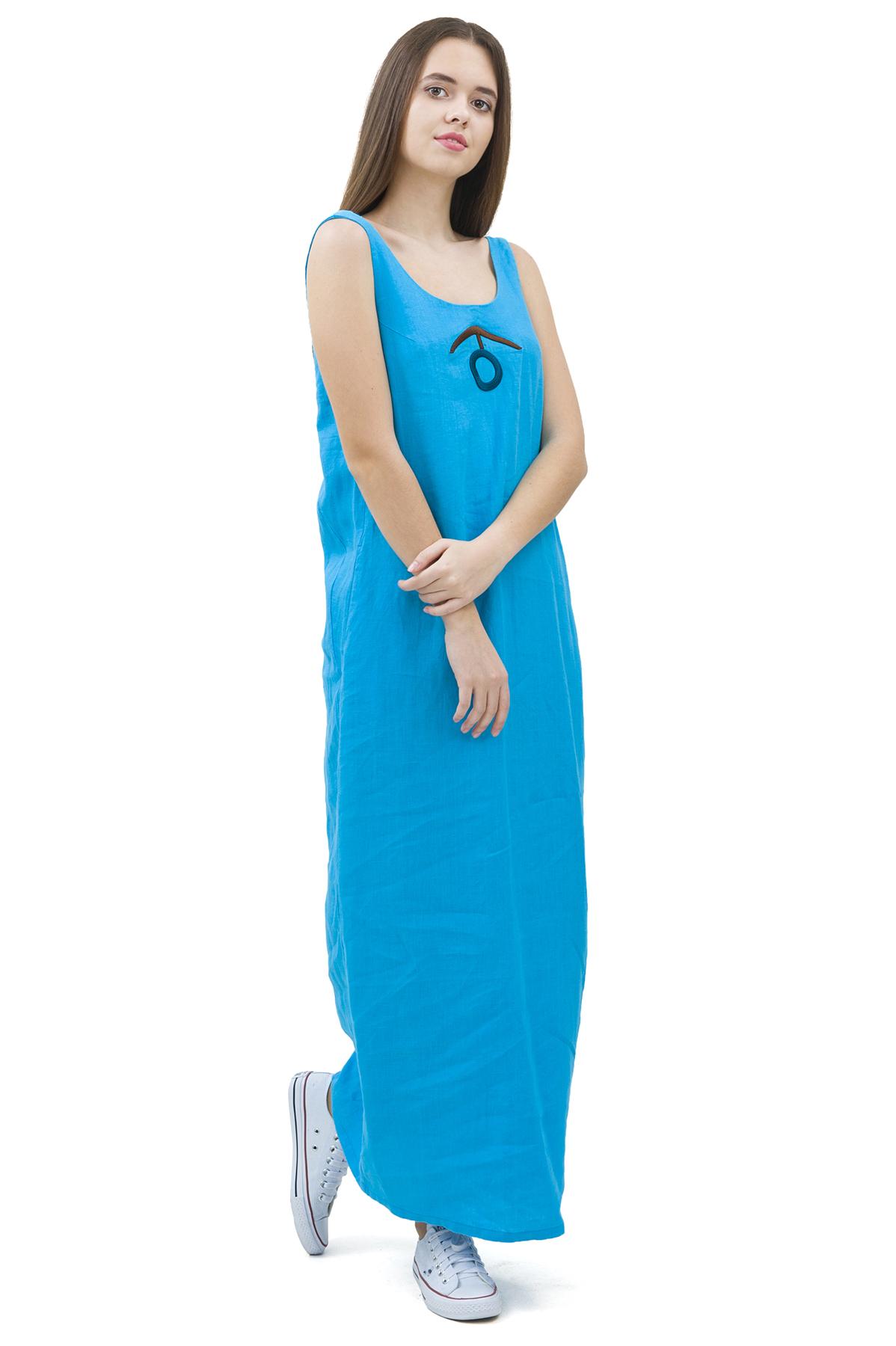 СарафанПлатья,  сарафаны<br>Стильный сарафан выполнен из натуральной ткани - льна. Данная модель удачно подчеркнет красоту Вашей фигуры, а яркая расцветка сарафана не оставит Вас незамеченной.<br><br>Цвет: голубой<br>Состав: 100% лен<br>Размер: 40,42,44,46,48,50<br>Страна дизайна: Россия<br>Страна производства: Россия