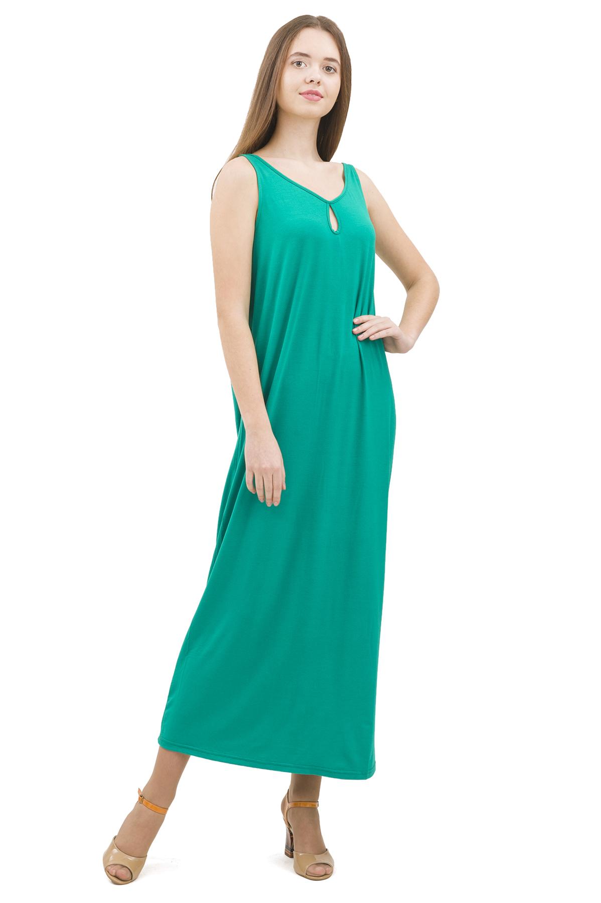 СарафанПлатья,  сарафаны<br>Стильный сарафан выполнен из натуральной ткани - льна. Данная модель удачно подчеркнет красоту Вашей фигуры, а яркая расцветка сарафана не оставит Вас незамеченной.<br><br>Цвет: зеленый<br>Состав: 92% вискоза; 8% эластан<br>Размер: 40,42,44,46,48<br>Страна дизайна: Россия<br>Страна производства: Россия