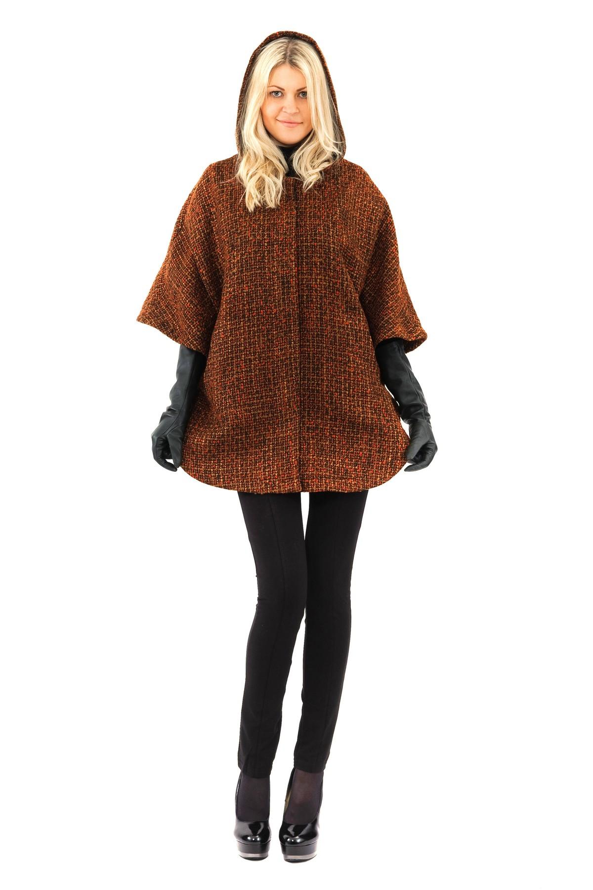 ПончоЖенские куртки, плащи, пальто<br>Пончо женское  из коллекции Павла Ерокина. Пончо свободного трапециевидного силуэта, изготовленного из высококачественного итальянского сукна, а капюшон и карманы обеспечивают комфортную носку изделия.<br><br>Цвет: кофейно-оранжевый<br>Состав: 38 % акрил ,35 % шерсть, 30% полиэстер<br>Размер: 44,46,48<br>Страна дизайна: Россия<br>Страна производства: Россия