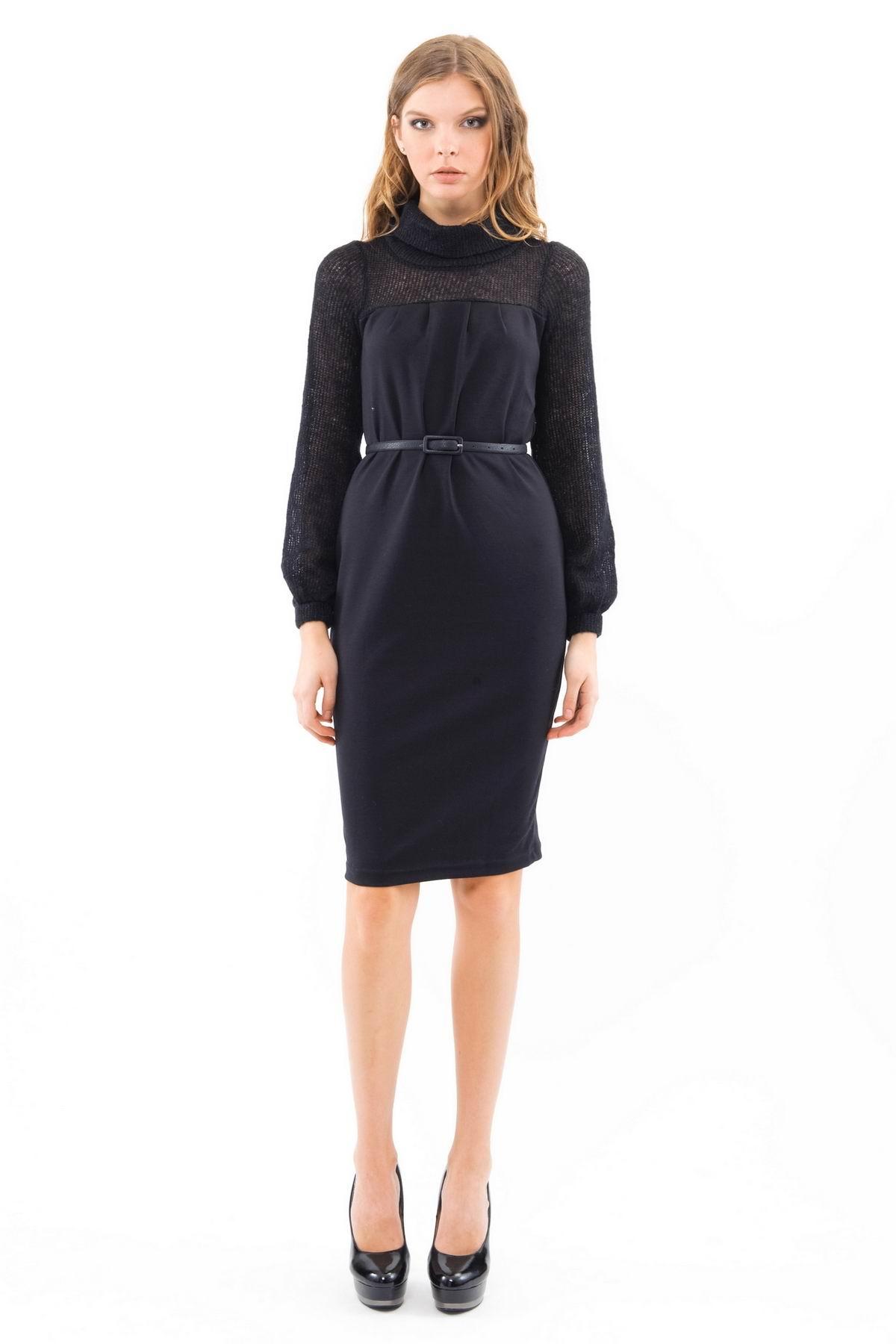 ПлатьеПлатья,  сарафаны<br>Восхитительное платье с длинными рукавами и длиной чуть выше колен. Модель эффектной классической расцветки смотрится привлекательно и модно. Выполнено из превосходного сочетания двух тканей. Изделие дополнено изящным черным ремнем.<br><br>Цвет: черный<br>Состав: ткань1 - 39% акрил, 29% полиамид, 28% мохер, 4% полиэстер, ткань2- 60% вискоза, 35% полиэстер, 5% лайкра<br>Размер: 40,42,46,52,54<br>Страна дизайна: Россия<br>Страна производства: Россия
