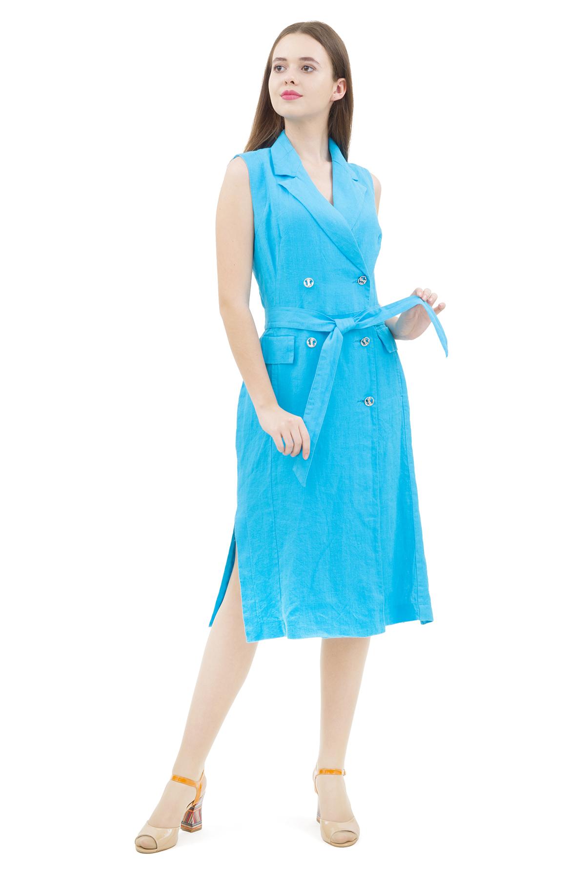 ПлатьеПлатья,  сарафаны<br>Стильное платье выполнено из натуральной ткани - льна. Данная модель удачно подчеркнет красоту Вашей фигуры, а яркая расцветка  не оставит Вас незамеченной.<br><br>Цвет: голубой<br>Состав: 100% лен<br>Размер: 42,44,46,48,50,52,54<br>Страна дизайна: Россия<br>Страна производства: Россия