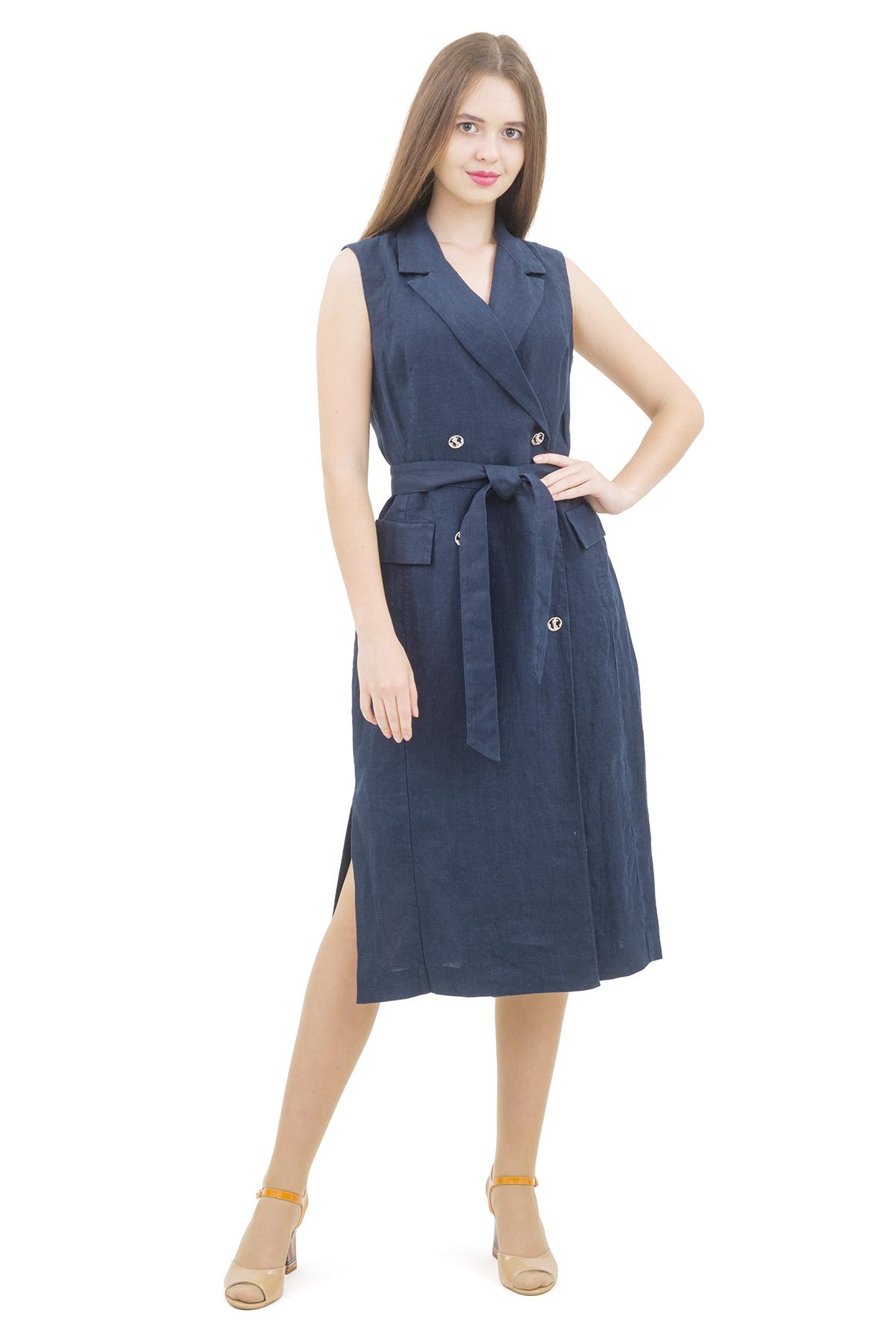 ПлатьеПлатья,  сарафаны<br>Стильное платье выполнено из натуральной ткани - льна. Данная модель удачно подчеркнет красоту Вашей фигуры, а яркая расцветка  не оставит Вас незамеченной.<br><br>Цвет: темно-синий<br>Состав: 100% лен<br>Размер: 42,44,46,48,50,52,54<br>Страна дизайна: Россия<br>Страна производства: Россия