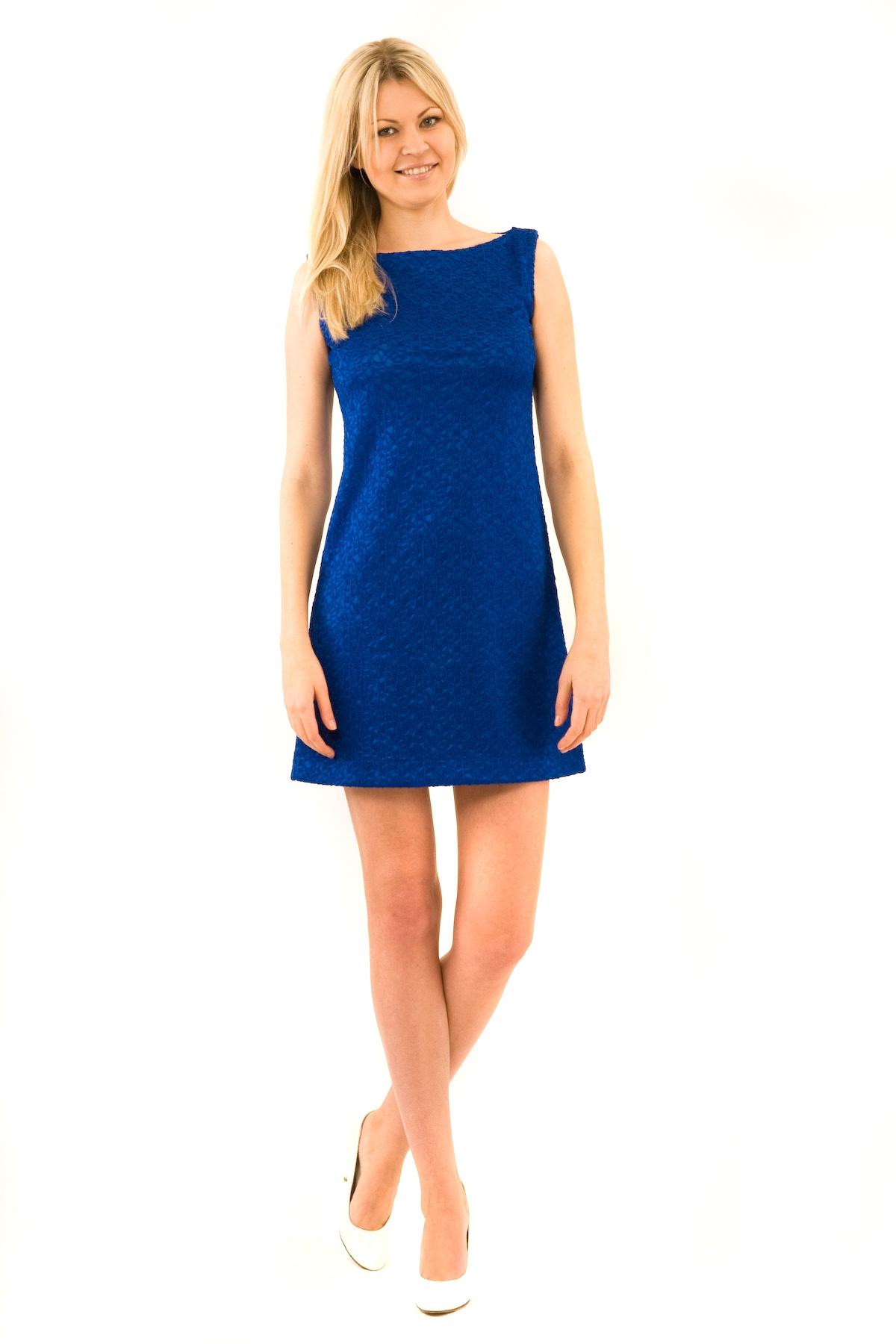 ПлатьеПлатья,  сарафаны<br>Отличное платье из французского трикотажа приталенного кроя. Модель удачно подчеркнет красоту Вашей фигуры, а яркий красивый цвет платья не оставит Вас незамеченной. Изделие прекрасно подойдет как для праздничного вечера, так и для деловой встречи, в случ<br><br>Цвет: синий<br>Состав: 100 % полиэстер<br>Размер: 48,52<br>Страна дизайна: Россия<br>Страна производства: Россия