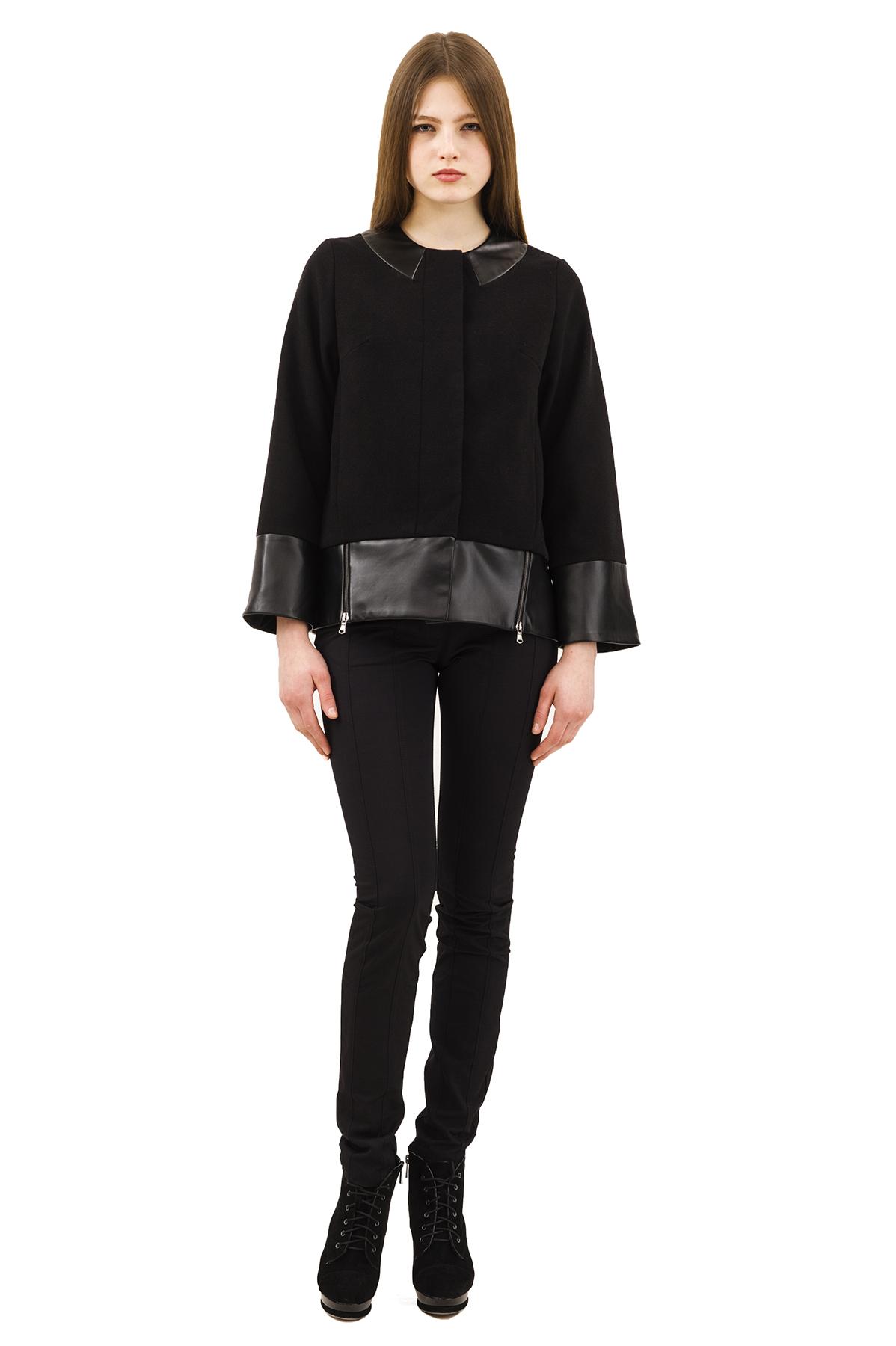КурткаЖенские куртки, плащи, пальто<br>Стильная куртка для современных жительниц мегаполиса. Выполнена из высококачественного комфортного материала. Эта вещь станет идеальным вариантом для создания современного образа любой девушки.<br><br>Цвет: черный<br>Состав: 15% шерсть, 2%эластан, 18%вискоза ,65% полиэстер<br>Размер: 40,42,44,46,48,50,52,54,56,58<br>Страна дизайна: Россия<br>Страна производства: Россия