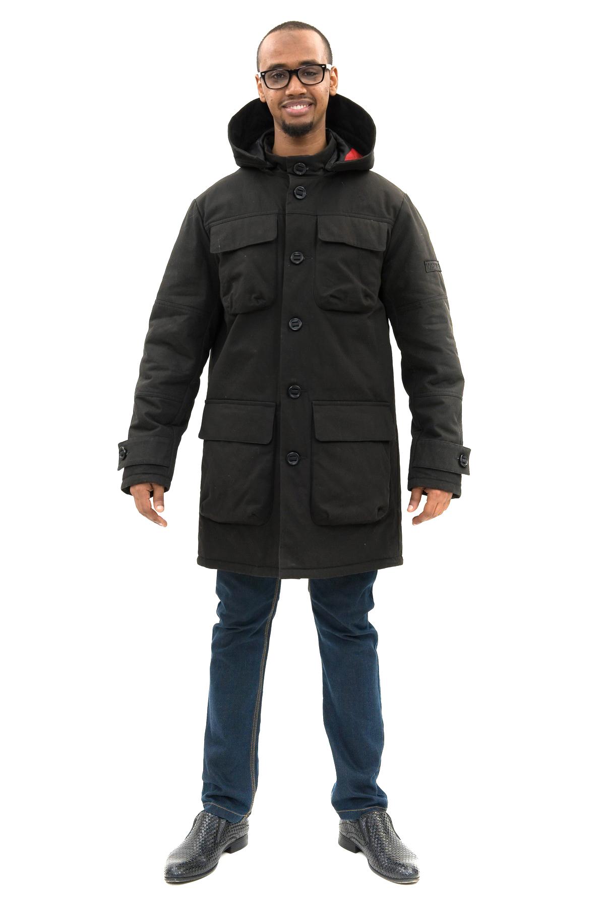 ПальтоЗимние мужские куртки, пуховики<br>Прекрасное мужское пальто прямого силуэта. Модель с капюшоном и центральной застежкой на пуговицы. Изделие дополнено функциональными карманами. Отличный повседневный вариант.Утеплитель синтепон 200 гр./кв.м<br><br>Цвет: черный<br>Состав: 100%хлопок, утеплитель - синтепон 200 гр., подкладка - 100%полиэстер<br>Размер: 48,50,52,54<br>Страна дизайна: Россия<br>Страна производства: Россия