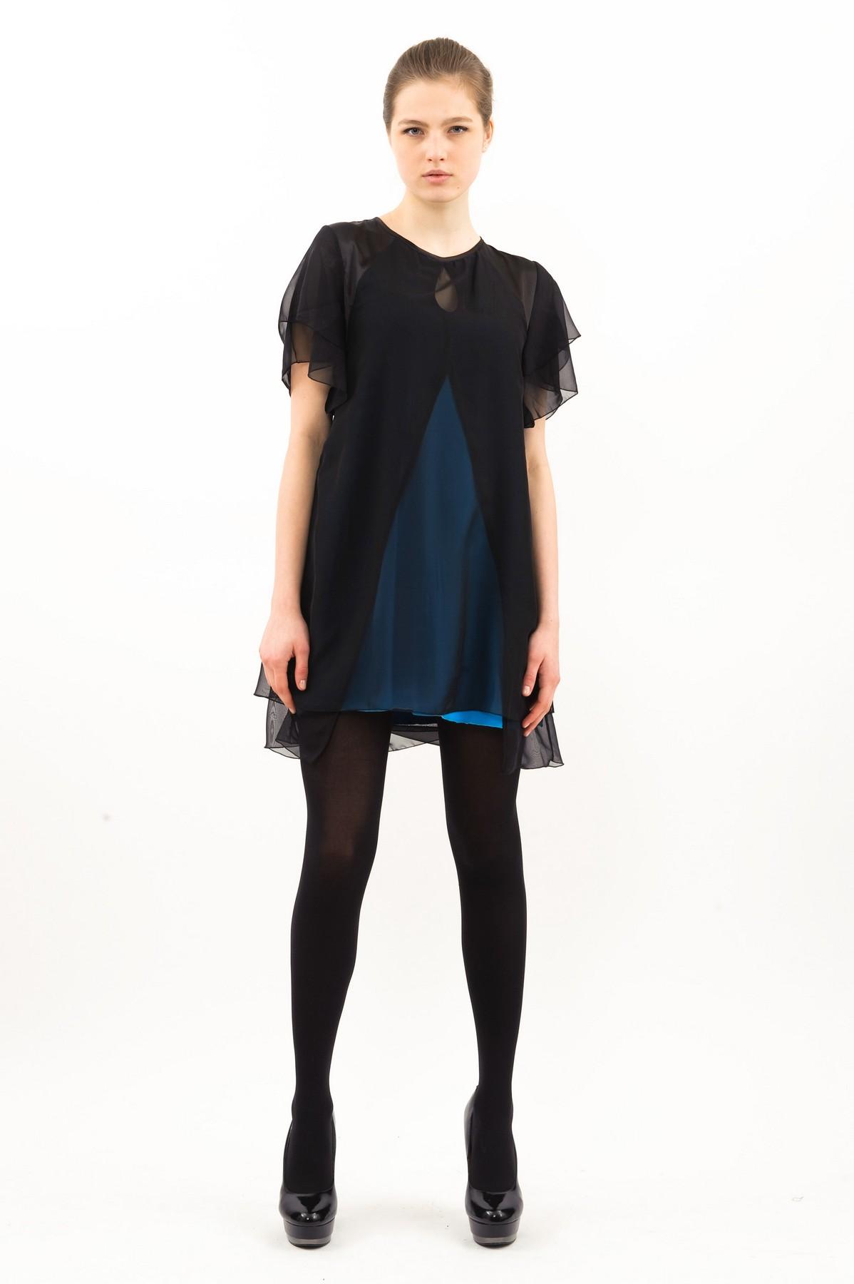 ПлатьеПлатья,  сарафаны<br>Восхитительное платье с шифоновыми рукавами и длиной чуть выше колен. Модель эффектной расцветки смотрится привлекательно и модно. Выполнено из превосходного сочетания двух тканей.<br><br>Цвет: черный,бирюзовый<br>Состав: ткань1-92% вискоза, 8% лайкра, ткань 2-100% полиэстер<br>Размер: 40,42,44,46,48,52,54,56,58,60<br>Страна дизайна: Россия<br>Страна производства: Россия