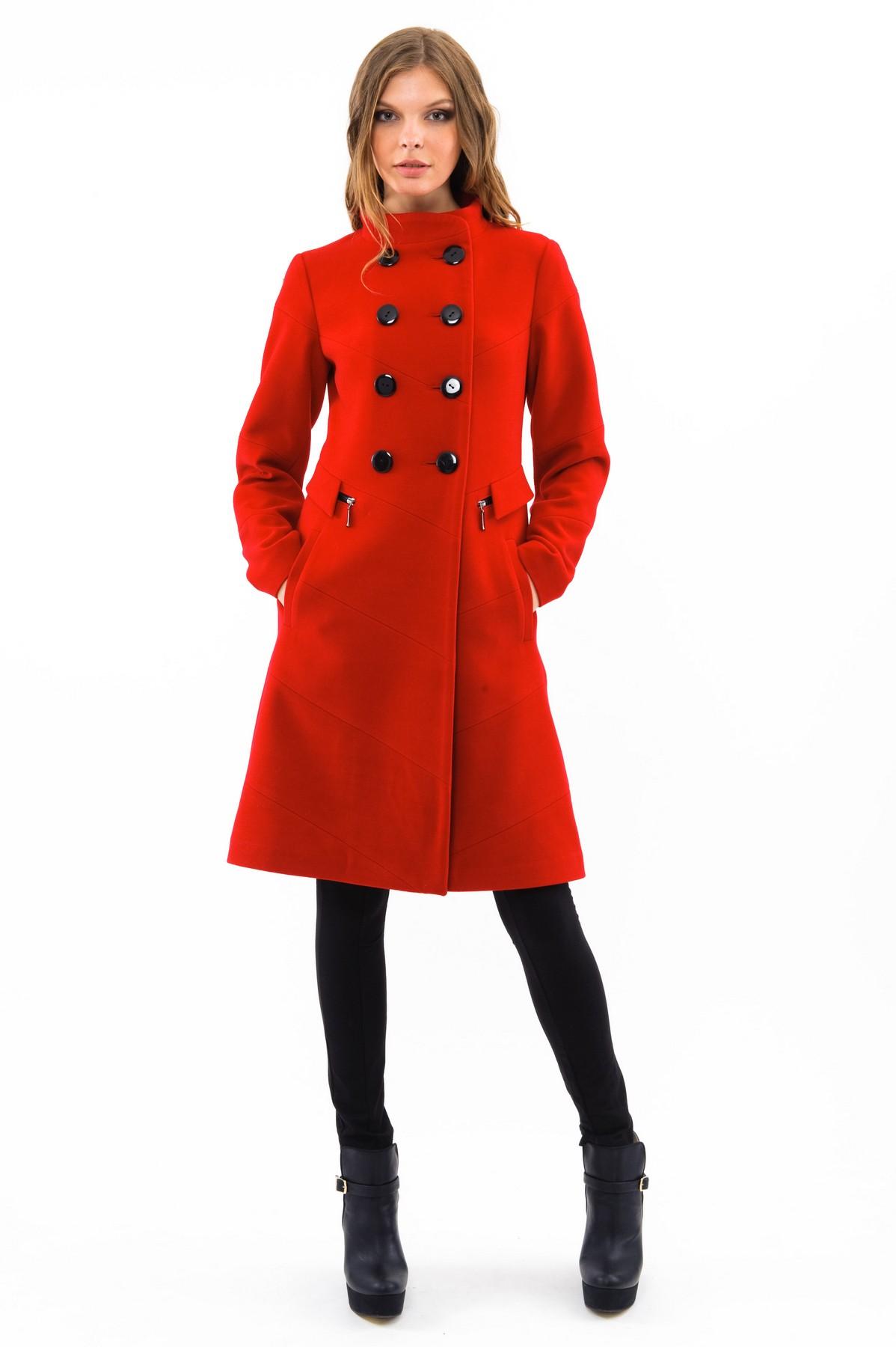 ПальтоЖенские куртки, плащи, пальто<br>Стильное пальто согреет в холодные дни. Изделие дополнено удобными карманами. Отличный осенний вариант.<br><br>Цвет: красный<br>Состав: 65% полиэстер, 13% вискоза, 15% шерсть, 2% эластан<br>Размер: 40,42,44,48,50,52,54,56,58<br>Страна дизайна: Россия<br>Страна производства: Россия