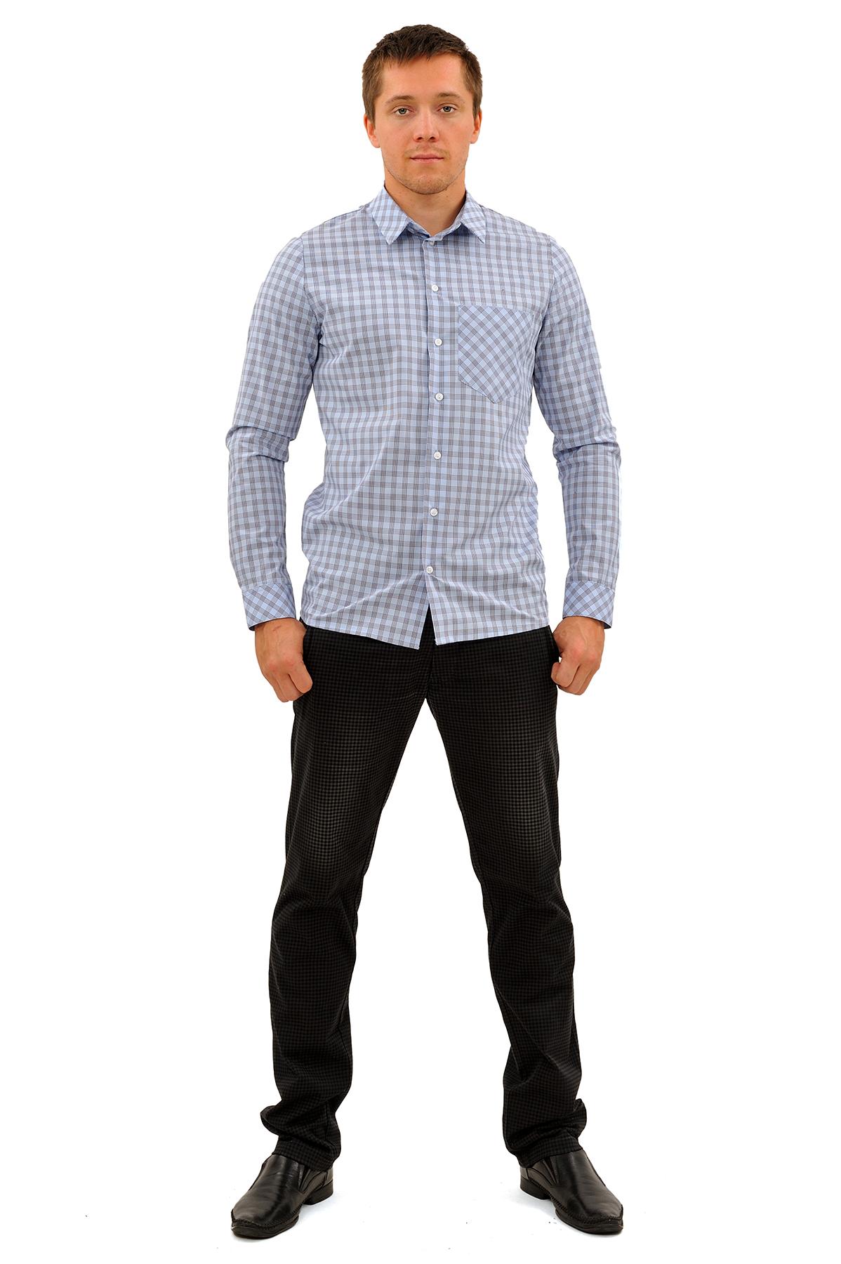 РубашкаМужские рубашки<br>Актуальная рубашка с короткими рукавами и застежкой на пуговицы. Воротник отложной. Дополнена карманами на груди. Полочки и спинка на фигурных кокетках, дающих свободу движений. Эта рубашка для мужчин, ценящих комфорт и стиль. Отлично смотрится в сочетан<br><br>Цвет: голубой<br>Состав: 100% хлопок<br>Размер: 46,48,50,52,54<br>Страна дизайна: Россия<br>Страна производства: Россия