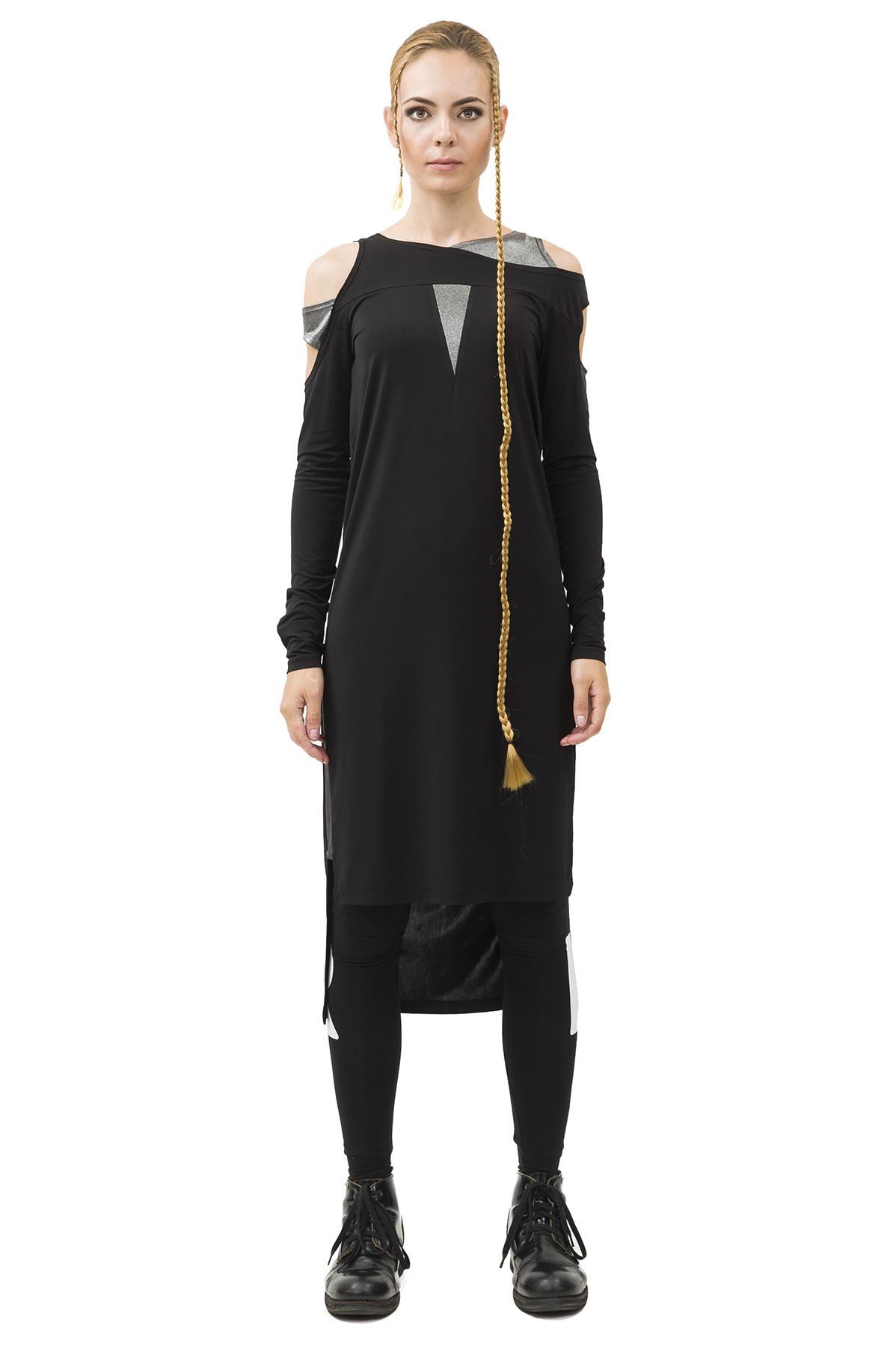 ПлатьеПлатья,  сарафаны<br>Платье бренда Pavel Yerokin выполнено из вискозы с добавлением шелка. Особенности: прямойкрой, асимметричный верх и низ, вставки из серебристого трикотажа, вырезы на плечах и рукавах.<br><br>Цвет: черный,серебристый<br>Состав: Материал 1: Полиэстер - 70%, Шелк - 25%, Эластан - 5%; Материал 2 - Полиэстер - 97%, Эластан - 3%<br>Размер: 40,42,44,46,48,50<br>Страна дизайна: Россия<br>Страна производства: Россия