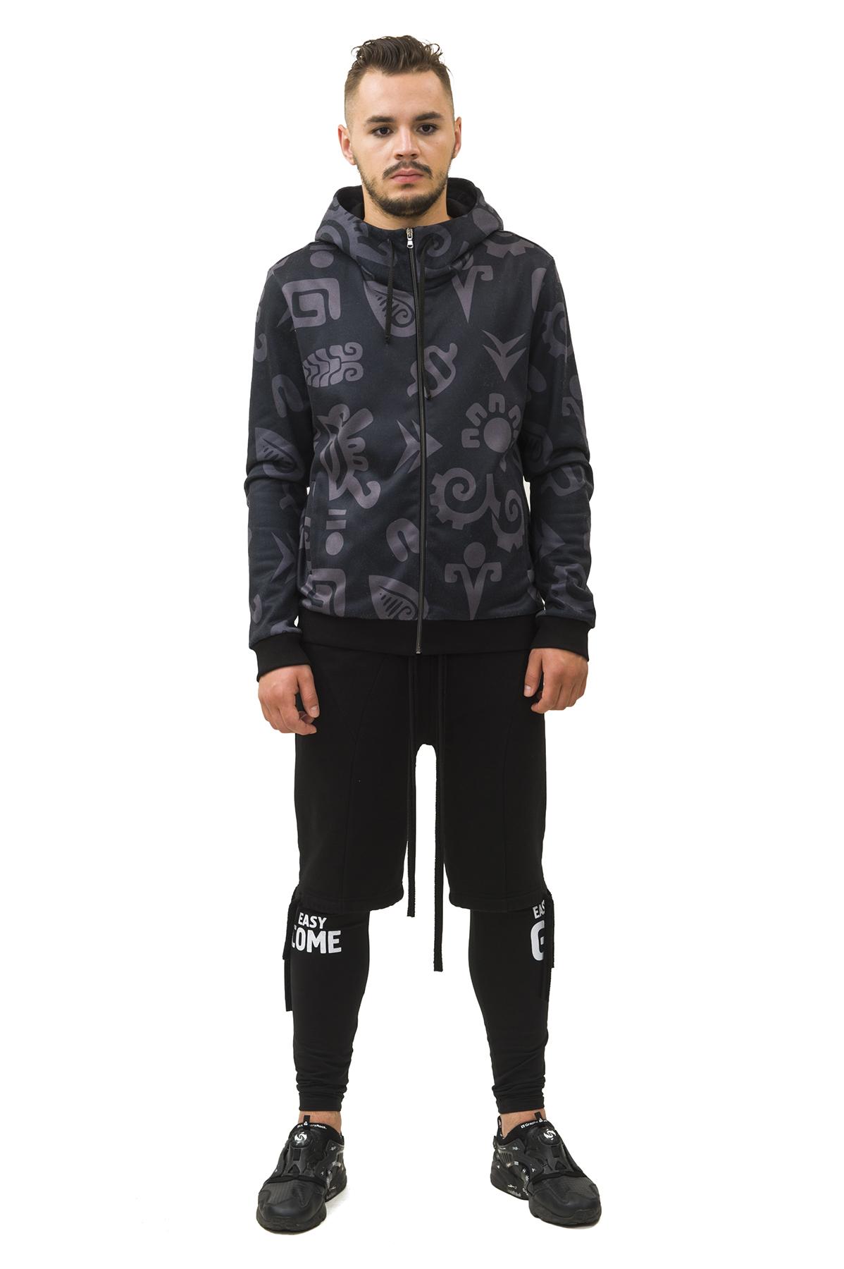 КурткаКуртки, пальто, ветровки<br>Спортивная куртка Pavel Yerokin с принтом  выполнена из трикотажной ткани. Особенности: прямой крой, застежка-молния, капюшон со шнуром, два кармана спереди, этнический принт.<br><br>Цвет: черный,серый<br>Состав: Полиэстер - 70%, Вискоза - 25%, Эластан - 5%<br>Размер: 44,46,48,50,52,54,56<br>Страна дизайна: Россия<br>Страна производства: Россия