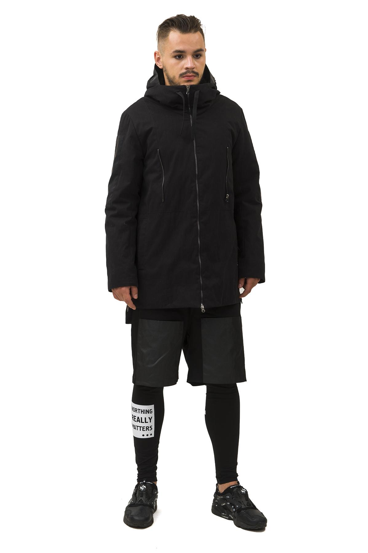 КурткаКуртки, пальто, ветровки<br>Куртка  Pavel Yerokin выполнена из прочного хлопкового текстиля. Особенности: прямой крой, асимметричный низ, 2 кармана в боковых швах, 1 внутренний карман, высокая стойка, капюшон со шнуром, сумка-рюкзак с возможностью носить на куртке спереди и сзади.<br><br>Цвет: черный<br>Состав: Материал 1 - Хлопок - 73%, Нейлон - 27%  Материал 2 - Полиэстер - 100%<br>Размер: 44,46,48,50,52<br>Страна дизайна: Россия<br>Страна производства: Россия