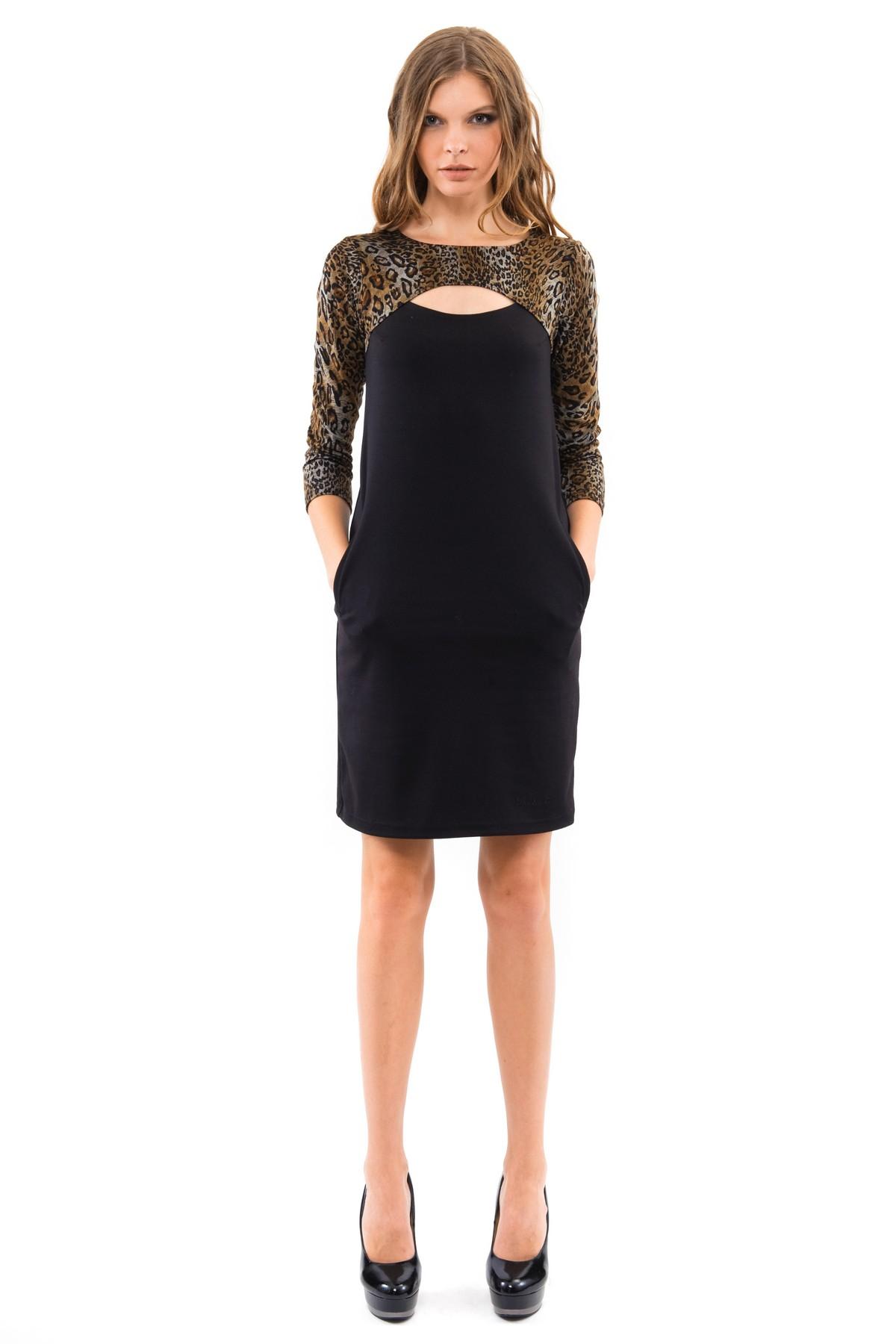 ПлатьеПлатья,  сарафаны<br>Платье свободного покроя с рукавами 3/4  и красивым вырезом в области декольте. Выполнено из высококачественного трикотажа. Отличный вариант для создания повседневного стильного образа.<br><br>Цвет: леопардовый,черный<br>Состав: 60%вискоза, 35%полиэстер, 5%лайкра<br>Размер: 40,42,44,46,48,50,52,54,56,58,60<br>Страна дизайна: Россия<br>Страна производства: Россия