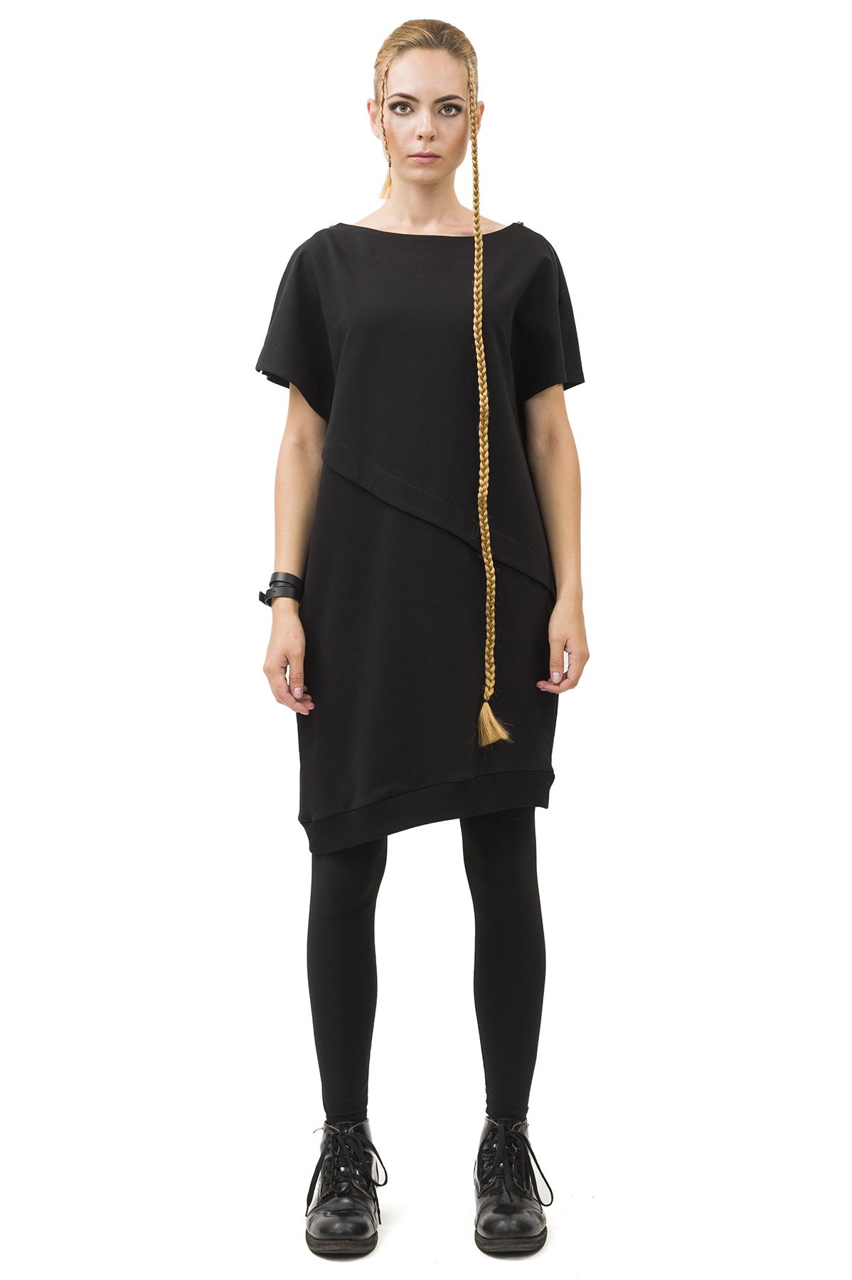 Платье-трансформерПлатья,  сарафаны<br>Платье Pavel Yerokin выполнено из хлопкового трикотажа. Особенности: расчлененный, асимметричный, свободный крой,  декоративные молнии на плечах, 2 кармана в боковых швах.<br><br>Цвет: черный<br>Состав: Хлопок - 80%, Полиэстер - 15%, Эластан - 5%<br>Размер: 40,42,44,46,48,50<br>Страна дизайна: Россия<br>Страна производства: Россия